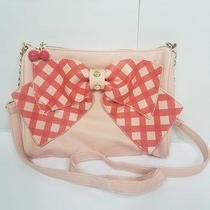Betsey Johnson blush plaid bow crossbody purse